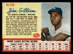 1962 Post Cereal #112  Jim Gilliam   Front Thumbnail