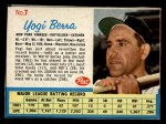 1962 Post Cereal #7  Yogi Berra   Front Thumbnail