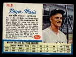 1962 Post Cereal #6 BL Roger Maris   Front Thumbnail