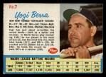 1962 Post Cereal #7  Yogi Berra   Front Thumbnail