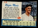 1962 Post Cereal #6 xAD Roger Maris   Front Thumbnail