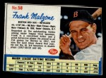1962 Post Cereal #58  Frank Malzone   Front Thumbnail