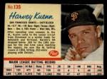 1962 Post #135  Harvey Kuenn   Front Thumbnail