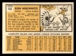 1963 Topps #152  Ron Nischwitz  Back Thumbnail