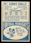 1968 Topps #206  Leroy Kelly  Back Thumbnail