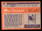 1970 Topps #256  Mac Percival  Back Thumbnail
