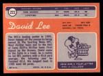 1970 Topps #222  David Lee  Back Thumbnail