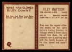 1967 Philadelphia #127  Riley Mattson  Back Thumbnail
