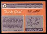 1970 Topps #97  Dick Post  Back Thumbnail