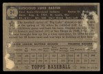 1952 Topps #24  Luke Easter  Back Thumbnail