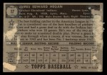 1952 Topps #17  Jim Hegan  Back Thumbnail