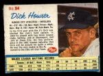 1962 Post #94  Dick Howser   Front Thumbnail