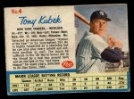 1962 Post #4  Tony Kubek   Front Thumbnail