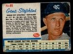 1962 Post Cereal #95 ERR Gene Stephens   Front Thumbnail