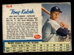 1962 Post Cereal #4  Tony Kubek   Front Thumbnail