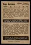 1954 Parkhurst #10  Tom Johnson  Back Thumbnail
