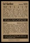 1954 Parkhurst #53  Cal Gardner  Back Thumbnail