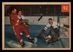 1954 Parkhurst #92   -  Harry Lumley / Gordie Howe / Ron Stewart Lum Stops Howe Front Thumbnail