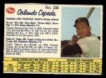 1962 Post Canadian #136  Orlando Cepeda  Front Thumbnail