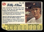 1962 Post Canadian #67  Billy Klaus  Front Thumbnail