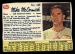 1962 Post Canadian #139  Mike McCormick  Front Thumbnail