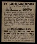 1948 Leaf #59  Luke Appling  Back Thumbnail