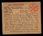 1950 Bowman #220 CPR Leo Durocher  Back Thumbnail