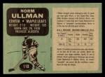 1970 O-Pee-Chee #110  Norm Ullman  Back Thumbnail