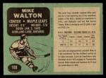 1970 O-Pee-Chee #109  Mike Walton  Back Thumbnail
