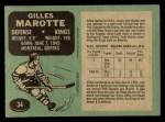 1970 O-Pee-Chee #34  Gilles Marotte  Back Thumbnail
