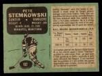 1970 O-Pee-Chee #182  Pete Stemkowski  Back Thumbnail