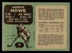 1970 O-Pee-Chee #29  Gordie Howe  Back Thumbnail