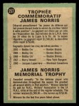 1970 O-Pee-Chee #257   James Norris Trophy Back Thumbnail