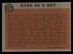 1962 Topps #135 GRN  -  Babe Ruth Babe as a Boy Back Thumbnail