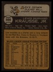 1973 Topps #566  Lew Krausse  Back Thumbnail