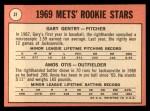 1969 Topps #31   -  Gary Gentry / Amos Otis Mets Rookies Back Thumbnail