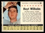 1961 Post Cereal #80 COM Hoyt Wilhelm   Front Thumbnail
