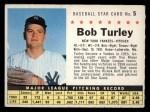 1961 Post #5  Bob Turley  Front Thumbnail