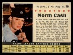 1961 Post Cereal #40 COM Norm Cash   Front Thumbnail
