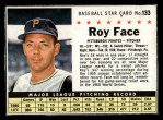 1961 Post Cereal #133 BOX Roy Face   Front Thumbnail