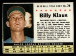 1961 Post Cereal #79 BOX Billy Klaus   Front Thumbnail