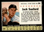 1961 Post Cereal #154 BOX Jack Sanford   Front Thumbnail
