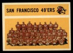 1960 Topps #122   49ers Team Checklist Front Thumbnail