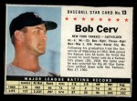 1961 Post Cereal #13 BOX Bob Cerv  Front Thumbnail