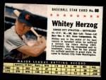 1961 Post Cereal #88 BOX Whitey Herzog   Front Thumbnail