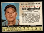 1961 Post #111  Red Schoendienst   Front Thumbnail