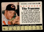 1961 Post #64 BOX Tito Francona   Front Thumbnail