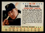 1963 Post Cereal #138  Bill Mazeroski  Front Thumbnail