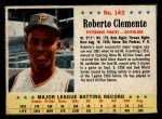 1963 Post Cereal #143  Roberto Clemente  Front Thumbnail