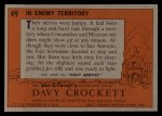 1956 Topps Davy Crockett #49 ORG  In Enemy Territory  Back Thumbnail